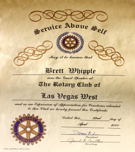 Service Above Self Award to Bret Whipple Rotary International